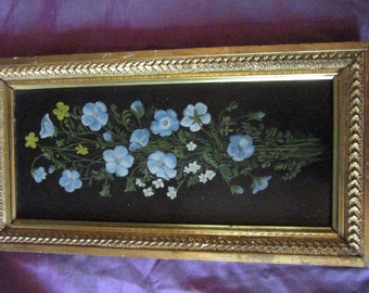 Antique Victorian hand painted original oil PAINTING wild floral flowers black tin vintage