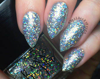 Opus | Silver Holo Glitter Nail Polish, Holographic, Vegan Nail Lacquer, Luxury Christmas Gifts For Wife, All Natural Beauty, AnnBoyar