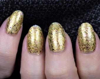 Sagittarius | 24K Gold Shimmer With Flakes Vegan Nail Polish, Handmade Nail Lacquer, Natural Nail Varnish, Christmas Gifts For Her Under 20