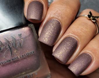 Twilight | Matte Purple Brown with Gold Flakes Nail Polish, Winter Nail Polish, Vegan Nail Lacquer, Luxury Natural Beauty, Christmas Gifts