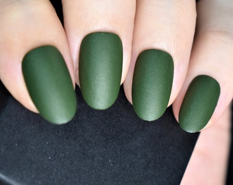 Scandinavia | Deep Forest Green with Micro Glitter Velvet Matte Nail Polish, Winter Artisan Nails Gifts, Vegan Nail Lacquer, Christmas Gifts