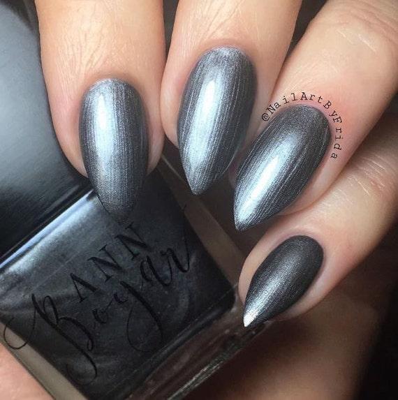 GUNMETAL Grey Nail Polish Shimmer Nail Lacquer Organic | Etsy