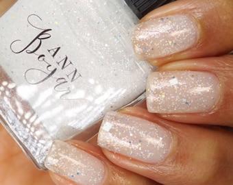 Polar Bear | White Glitter Vegan Jelly Nail Polish, Artisan Handmade Nail Lacquer, All Natural Nail Varnish, Christmas Gifts, Wedding Nails