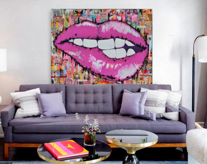 lips canvas pop art lips fashion lips