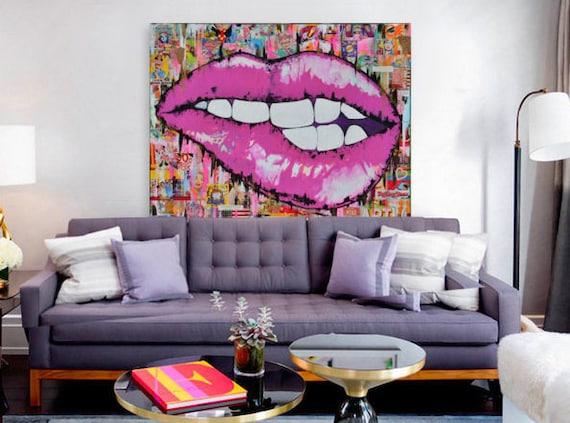lips canvas pop art lips fashion lips