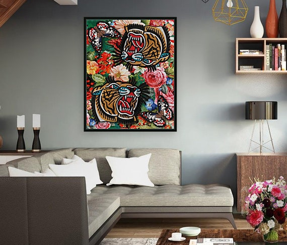 Gucci Tiger floral design