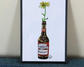 Yellow flower in Beer bottle #012 - Original watercolour painting