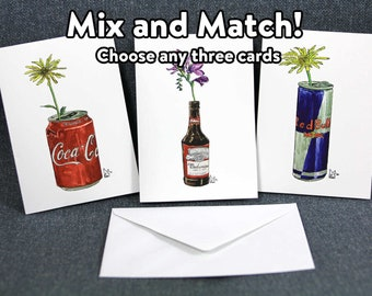 Mix and Match - any custom series of three greetings cards by Lee McGuire