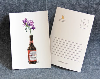 Purple flower in Beer bottle #002 - Art Postcard