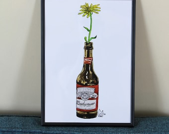 Yellow flower in Beer bottle #012 - Poster