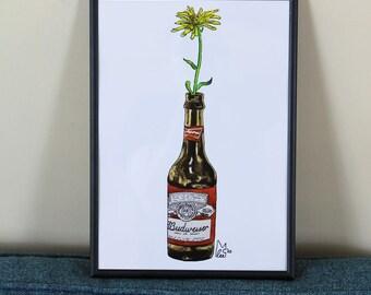 Yellow flower in Beer bottle #012 - Art Print