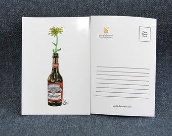 Yellow flower in Beer bottle #012 - Art Postcard