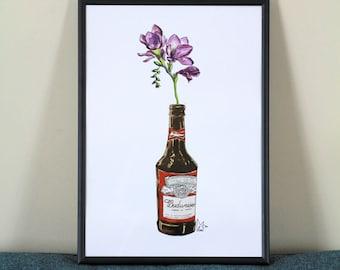 Purple flower in Beer bottle #002 - Art Print