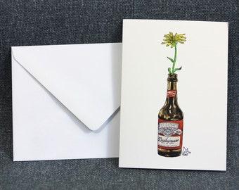Yellow flower in Beer Bottle #012 - Art Greeting card