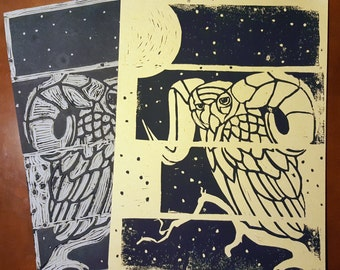 "Great ""Horned"" Owl Block Print"