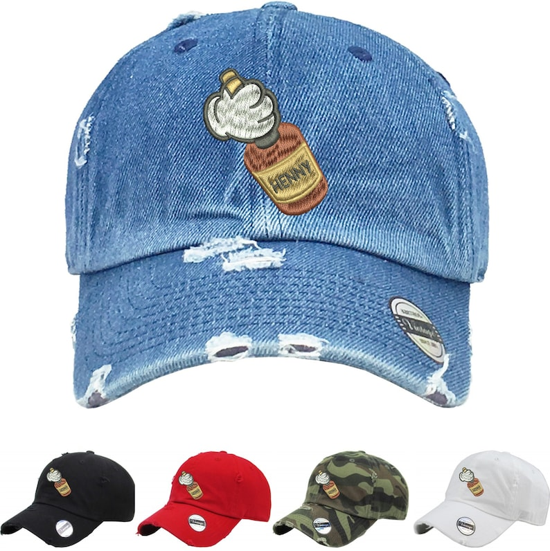 a4d93cd3a4897 Dad Hat Mickey Hands Henny Vintage Dad Hat Embroidered Print
