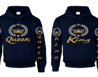 Valentines Day Couple Hoodies King And Queen Crown Diamond Couple Matching Hoodies Great Gift Valentine's Day Lovers Shirt