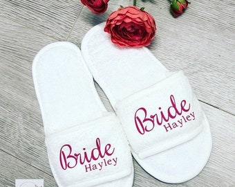 10589b1f400 Bridal Wedding Slippers - Personalised for FREE! Bridesmaid slippers