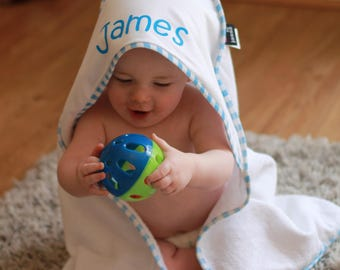 Personalised Baby Hooded Towel - Choice of Pink and Blue