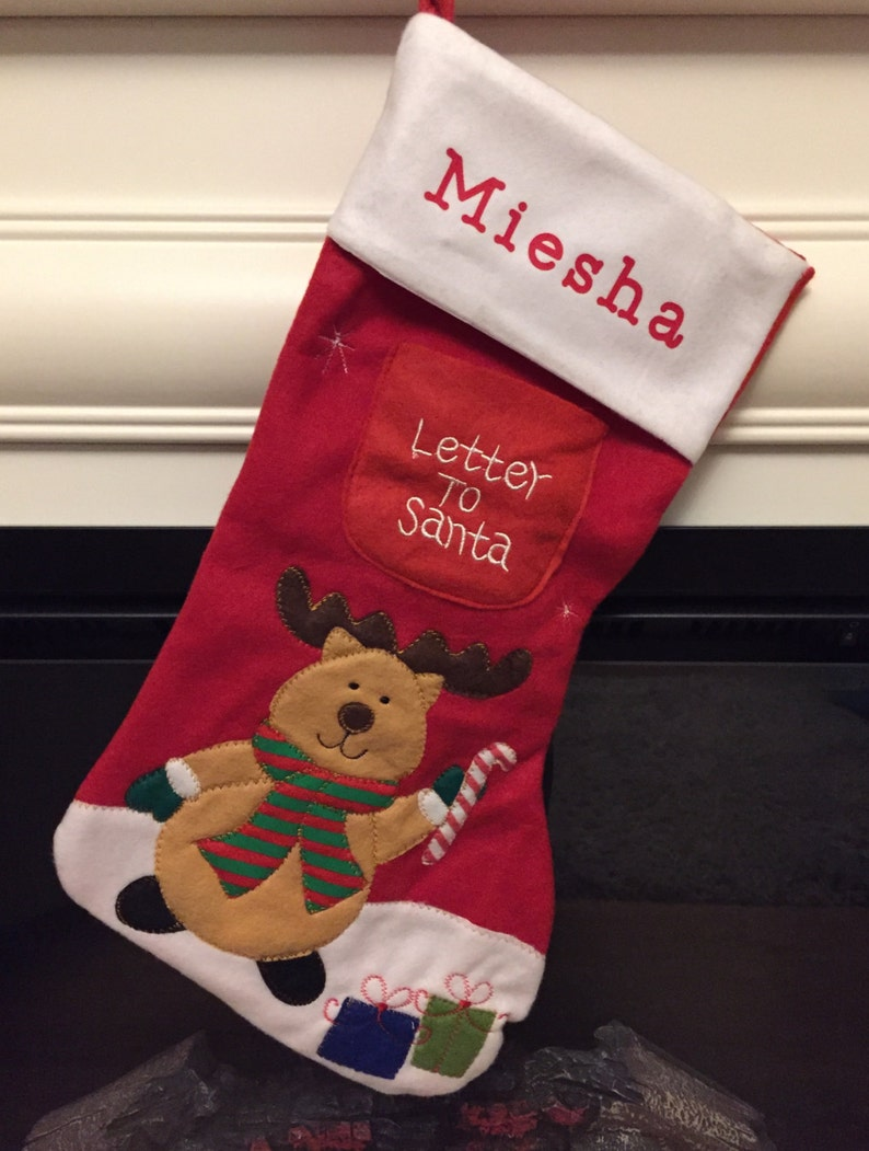 Letter Christmas Stockings.Personalised Christmas Stocking Letter To Santa Stocking Reindeer Or Father Christmas Design
