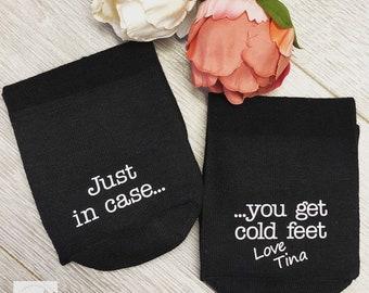Personalised Just in case you get cold Feet Socks, BLACK socks, Wedding Socks, Groom Socks, Funny Wedding socks