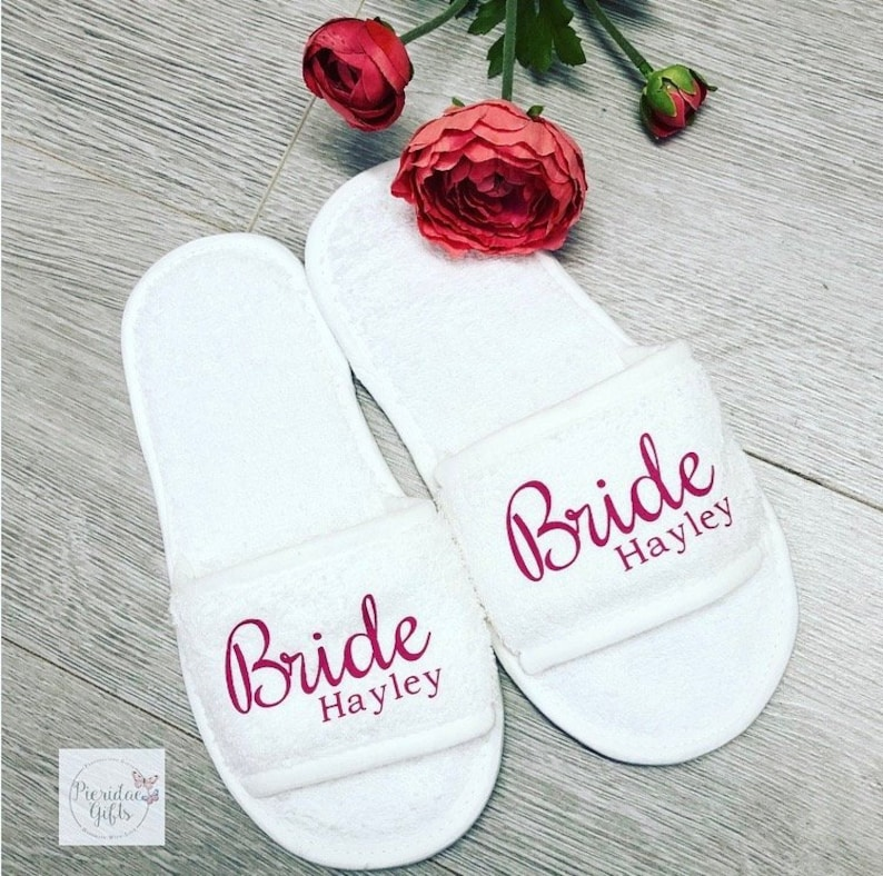 Bridal Wedding Slippers  Personalised for FREE Bridesmaid image 0