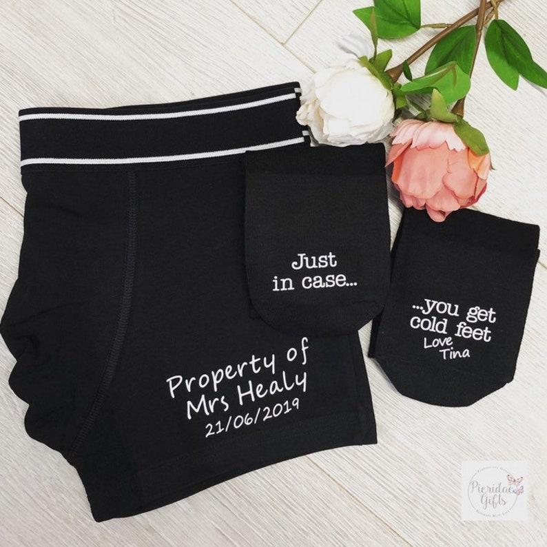 Groom Gift Set Personalised Boxers and Socks Wedding Gift image 0