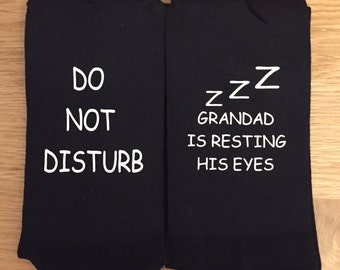 Do not disturb Grandad is resting his eyes Socks, funny socks, Father's Day socks, Father's Day gift, Mother's Day socks