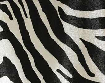 Vinyl Upholstery Fabric - Chester - Domino - Zebra Animal Print Faux Leather Vinyl Upholstery Fabric by the Yard - Available in 6 Colors