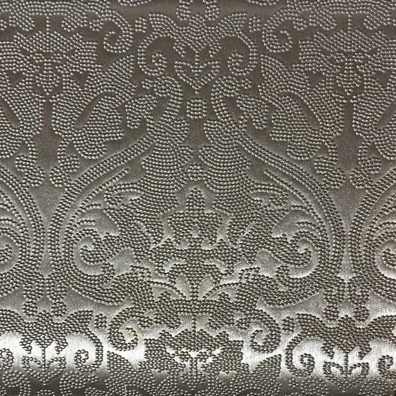 Vinyl Upholstery Fabric Lyon Silver Damask Designer Etsy