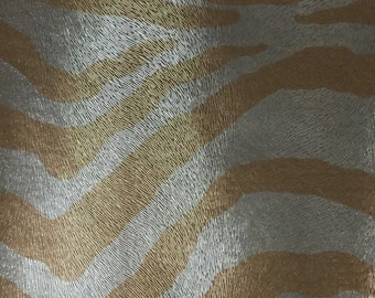 Vinyl Upholstery Fabric - Chester - Gold - Zebra Animal Print Faux Leather Vinyl Upholstery Fabric by the Yard - Available in 6 Colors