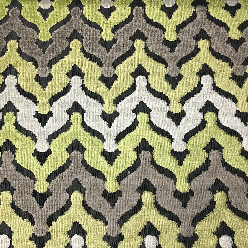 Grass Drapery /& Upholstery Fabric by the Yard Available in 8 Colors Lennon Chevron Cut Velvet Pillow Velvet Upholstery Fabric