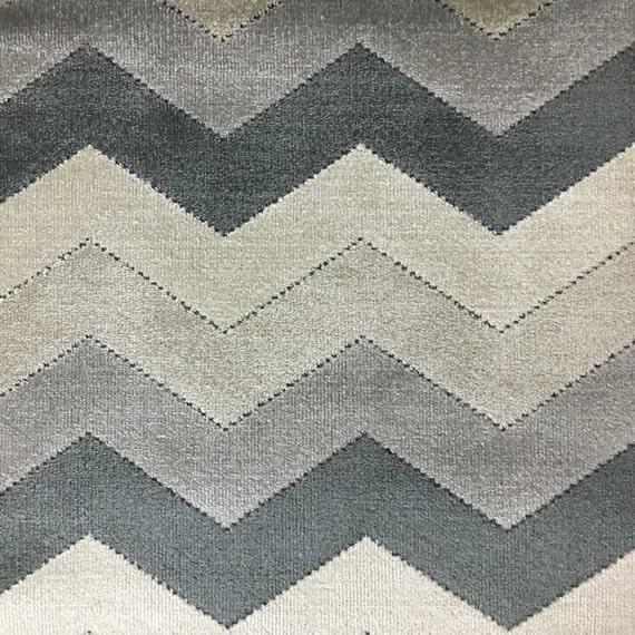 Upholstery Fabric Longwood Zinc Bold Chevron Pattern Cut Etsy
