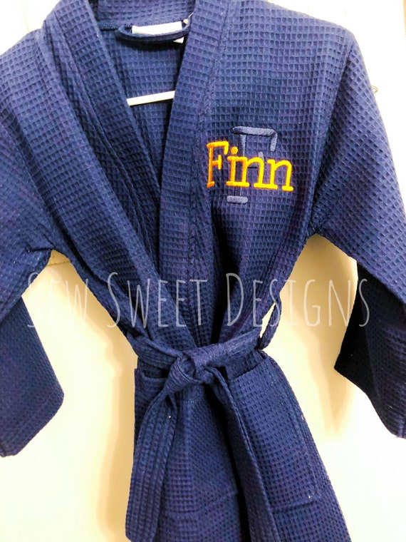 Monogrammed Bath Robe for Boys Personalized Waffle kids  2a6e7287f