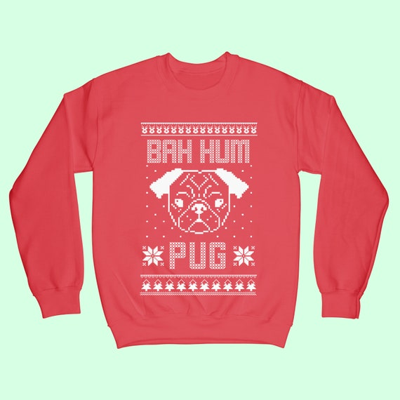 Bah Hum Pug Ugly Christmas Sweater Red Adult T-Shirt