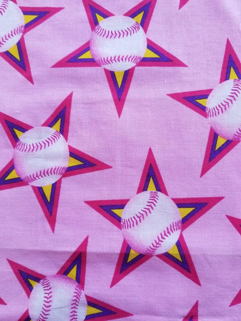 Small 2 to 4 yrs. Child\u2019s Fabric Apron Pink Baseball Star Print