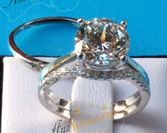 Bridal Set: Engagement Ring, Sparkly Simulated Diamond Engagement Ring Set, 925 Silver, wedding ring, rings for women, rings, gifts for her