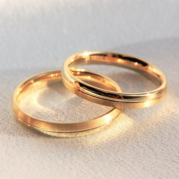 luna jewelry Wedding Rings Statement Ring Couple Rings Set of 2 Anniversary Gift for Her