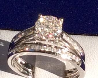 diamond rings for women, diamond engagement ring, bridal set  14K white gold ring, ring for her, enagement wedding ring set, Christmas gift