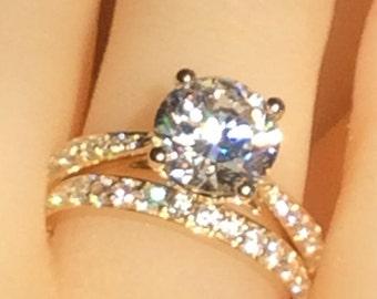 engagement ring wedding, wedding ring set, 2.5ct simulated diamond engagement ring, rings gold, 9K gold ring, promise ring, ring for women