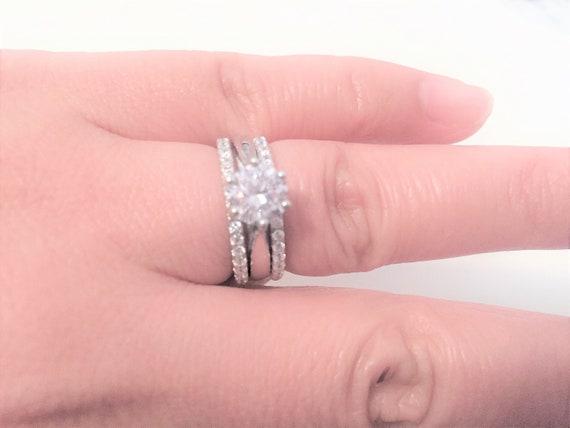 925 Silber Rhodiniert 7mm 2 Verlobungsringe Top Qualität Alle Größen