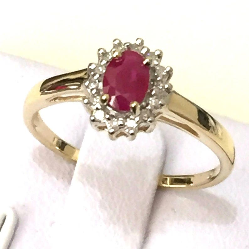 Diamond Halo Ring size 6.34 jewellery accessories Engagement Ring: Real 9K Solid Yellow Gold 0.68ct TW Genuine Ruby jewellery box free
