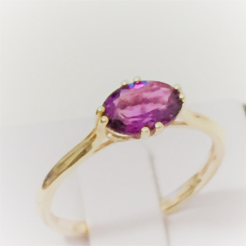 promise ring for her genuine natural amethyst ring in 9K gold gift purple amethyst gold ring Gemstone ring: amethyst engagement ring