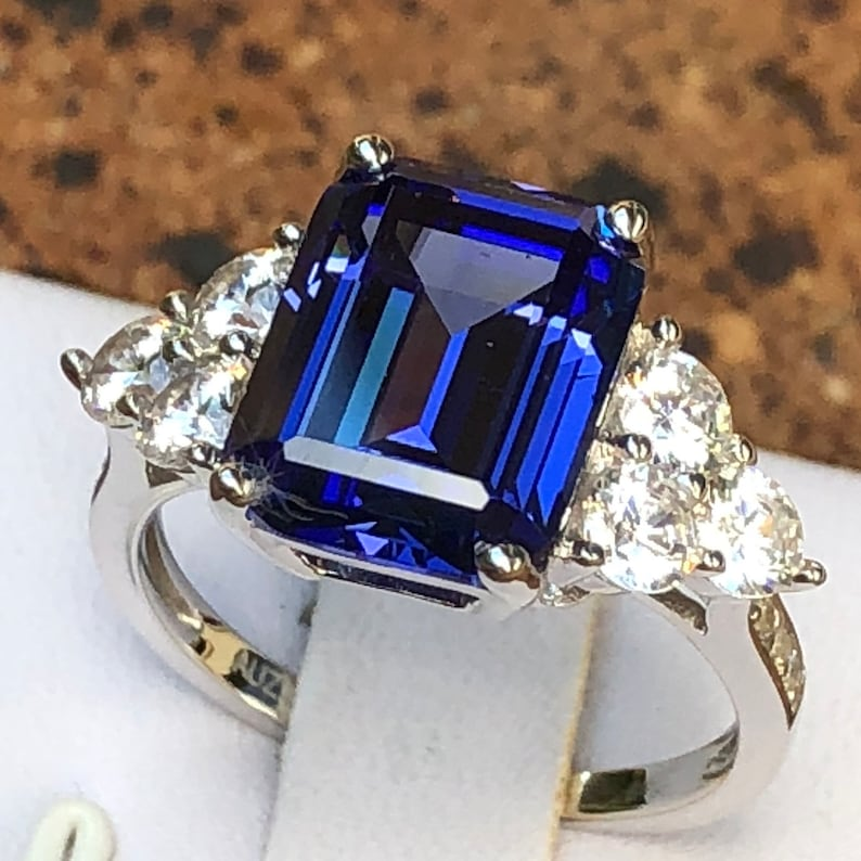 Fine Rings Rose Cut Diamond Natural Tanzanite Ring Silver 925 Ring Wedding Engagement Ring Jewelry & Watches