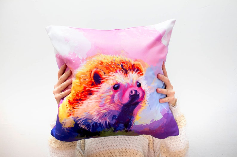 Cute Animal Pillow Cover 18x18 polyester hedgehog pillow image 0