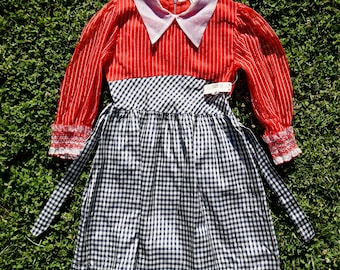 Vintage 1960s Red White And Plaid Formal Childrens Dress / Vintage Dress / 60s Dress / NOS/ Children's Dress/ Peter Pan Collar /Metal Zipper