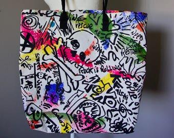 Vintage Carlos Falchi Original Art Tote And Signed / Street Art / Graffiti Art / Rare / Designer / Brazil / Brazilian Design / High Fashion