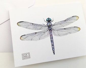 Set of 8 Dragonfly watercolor cards, watercolor dragonfly,greeting cards, printed watercolor cards,blank greeting card,painting,