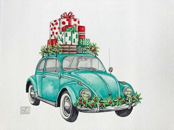 christmas vw bug art print christmas holiday watercolor