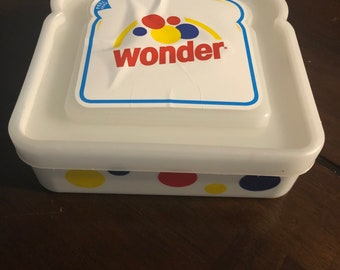 Vintage Plastic Wonder Bread sandwich container FREE SHIPPING